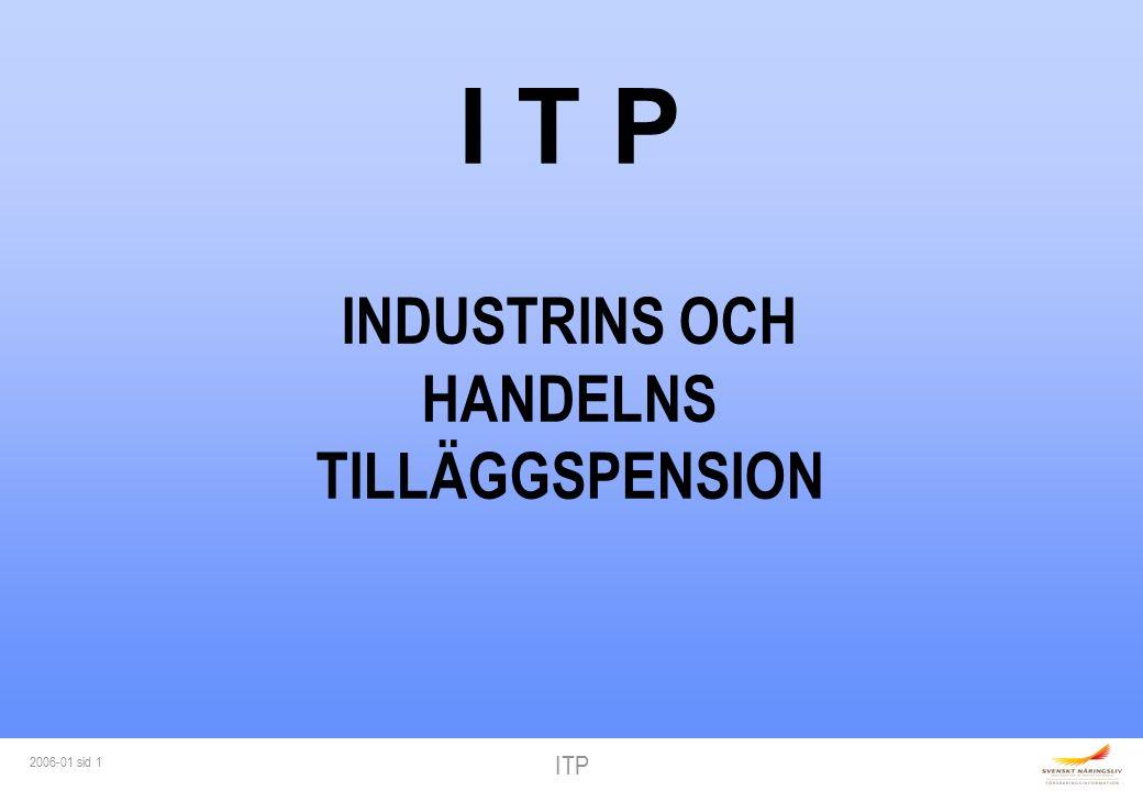 ITP 2006-01 sid 2 ITP-PLANEN Förmånsbestämd ITP 18 år Riskförsäkring - förmån sjukdom 28 år Ålderspension Familjepension Premiebestämd ITPK-val (28 år) - ålderspension - efterlevandeskydd Arbetsgivaren kan erbjuda alternativ till - ålderspension > 7,5 ibb - familjepension Alternativ ITP (lön över 10 ibb)