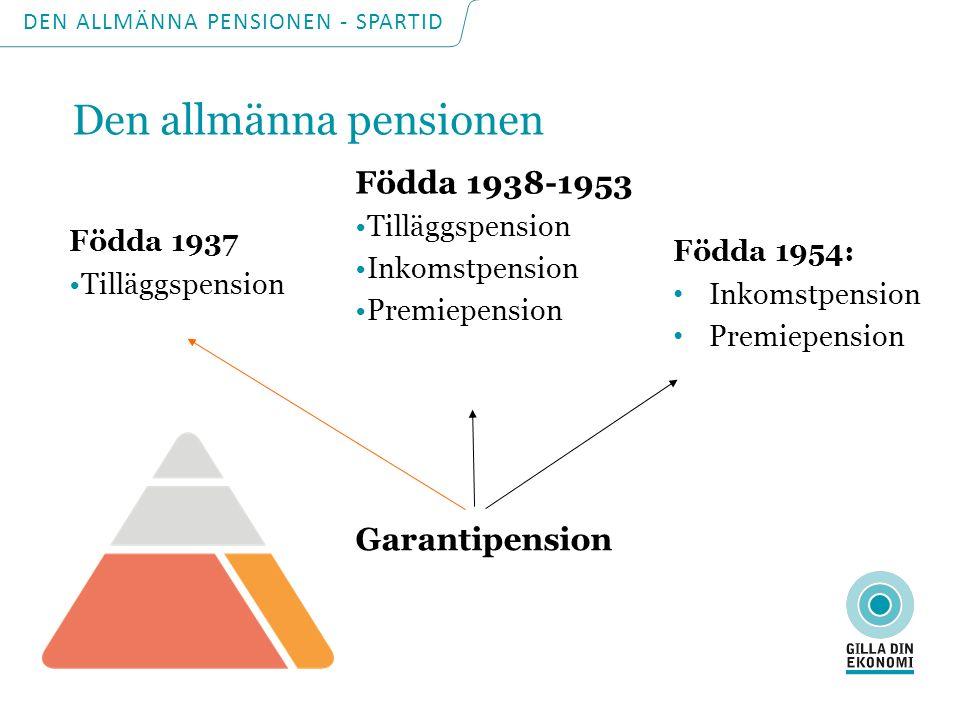 Födda 1954: Inkomstpension Premiepension Födda 1937 Tilläggspension Födda 1938-1953 Tilläggspension Inkomstpension Premiepension Garantipension DEN AL