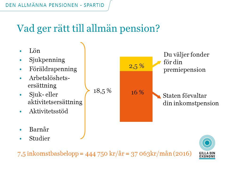 DEN ALLMÄNNA PENSIONEN - SPARTID Vad påverkar storleken på den allmänna pensionen.
