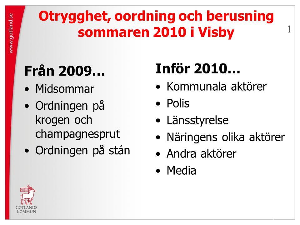 Otrygghet, oordning och berusning sommaren 2010 i Visby Från 2009… Midsommar Ordningen på krogen och champagnesprut Ordningen på stán Inför 2010… Komm