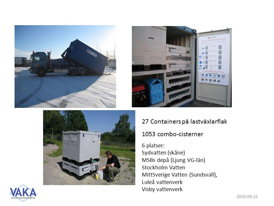 2016-09-22 27 Containers på lastväxlarflak 1053 combo-cisterner 6 platser: Sydvatten (skåne) MSBs depå (Ljung VG-län) Stockholm Vatten MittSverige Vatten (Sundsvall), Luleå vattenverk Visby vattenverk