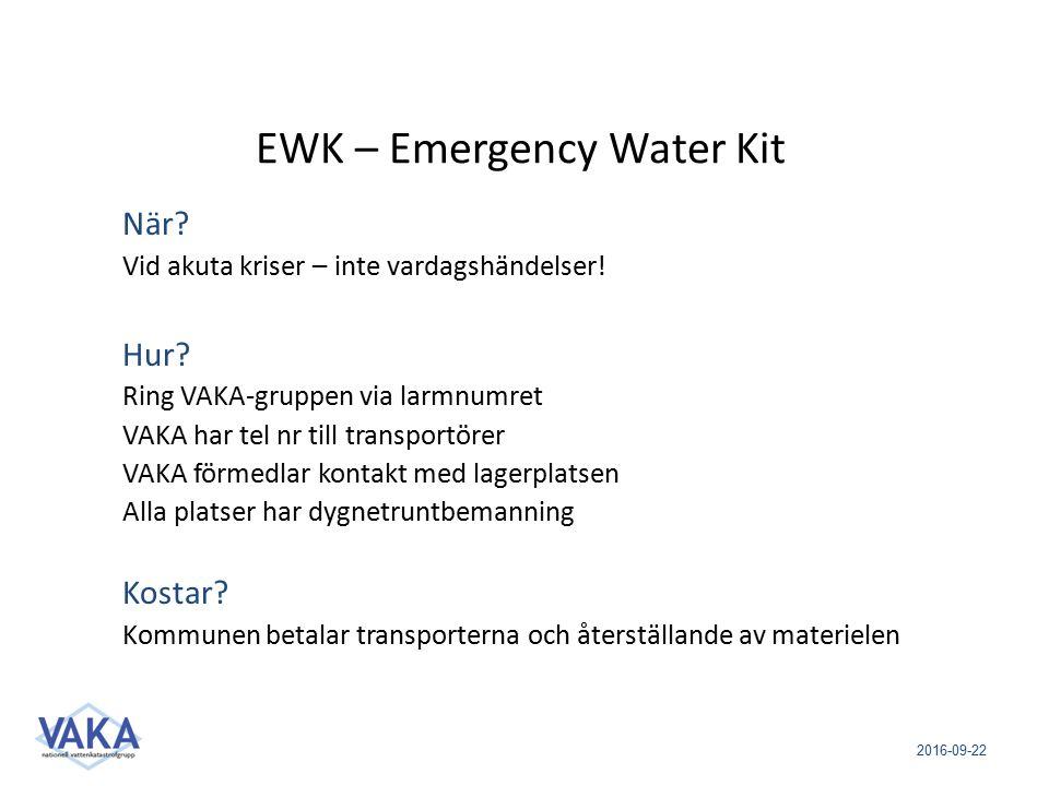 2016-09-22 EWK – Emergency Water Kit När? Vid akuta kriser – inte vardagshändelser! Hur? Ring VAKA-gruppen via larmnumret VAKA har tel nr till transpo
