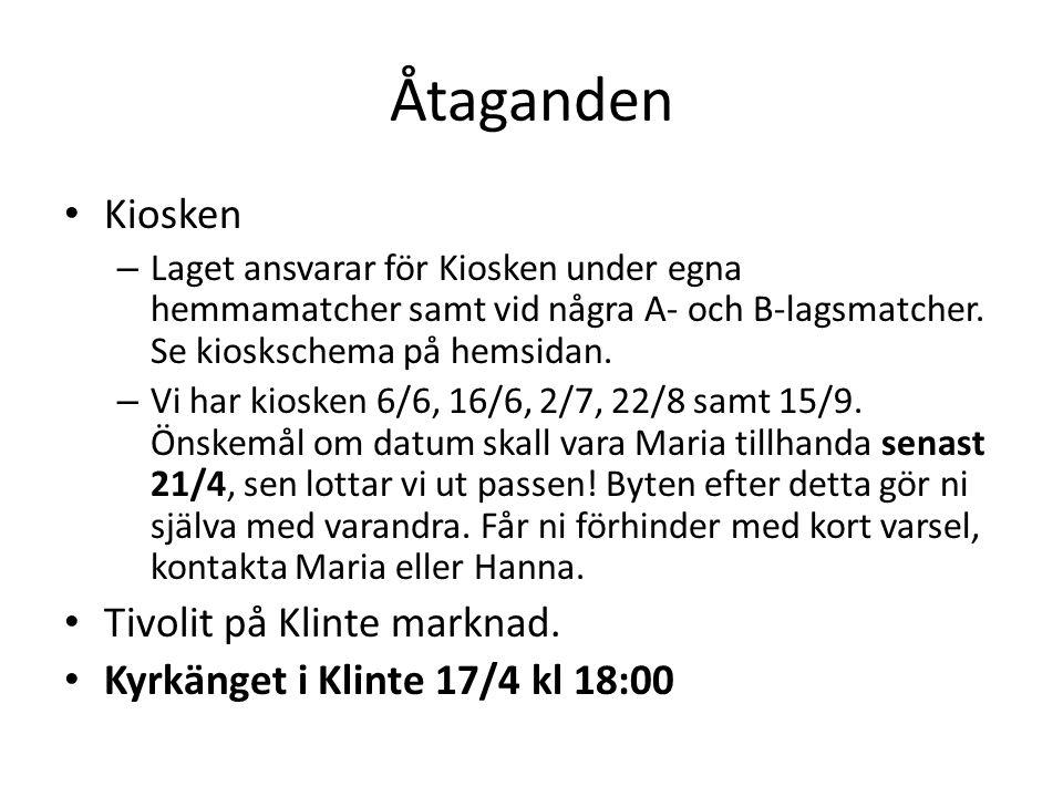 Åtaganden Kiosken – Laget ansvarar för Kiosken under egna hemmamatcher samt vid några A- och B-lagsmatcher.