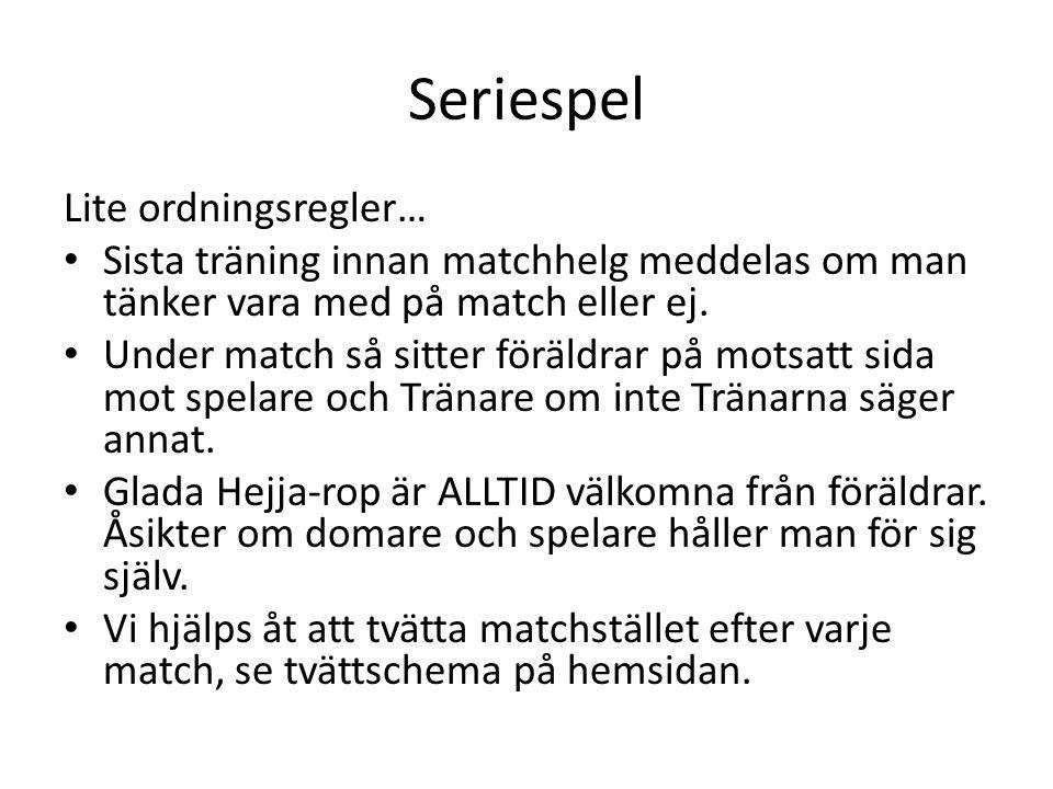 Seriespel Lite ordningsregler… Sista träning innan matchhelg meddelas om man tänker vara med på match eller ej.