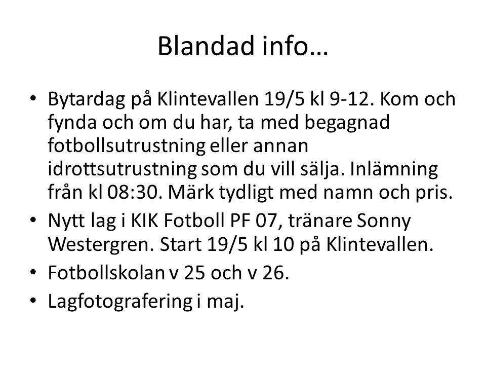 Blandad info… Bytardag på Klintevallen 19/5 kl 9-12.