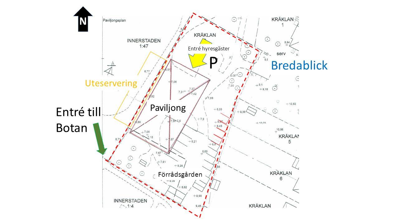 Förrådsgården Bredablick Entré till Botan N Paviljong Uteservering Entré hyresgäster P