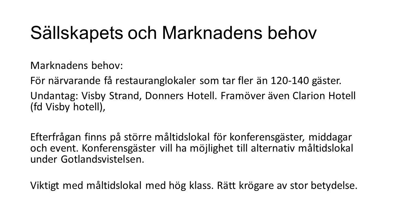 Sällskapets och Marknadens behov Marknadens behov: För närvarande få restauranglokaler som tar fler än 120-140 gäster.