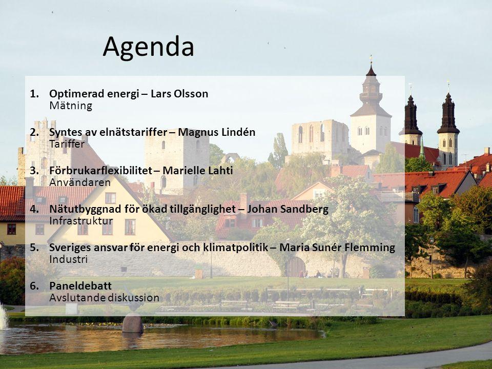 Agenda 1.Optimerad energi – Lars Olsson Mätning 2.Syntes av elnätstariffer – Magnus Lindén Tariffer 3.Förbrukarflexibilitet – Marielle Lahti Användare