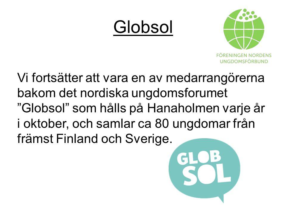 Globsol Vi fortsätter att vara en av medarrangörerna bakom det nordiska ungdomsforumet Globsol som hålls på Hanaholmen varje år i oktober, och samlar ca 80 ungdomar från främst Finland och Sverige.