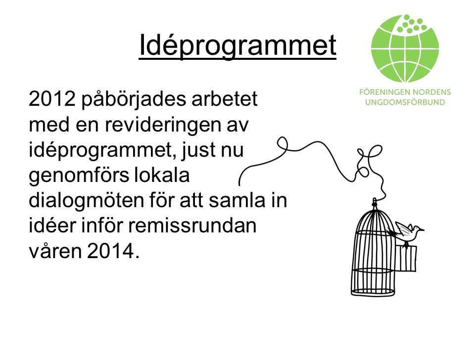 Idéprogrammet 2012 påbörjades arbetet med en revideringen av idéprogrammet, just nu genomförs lokala dialogmöten för att samla in idéer inför remissrundan våren 2014.