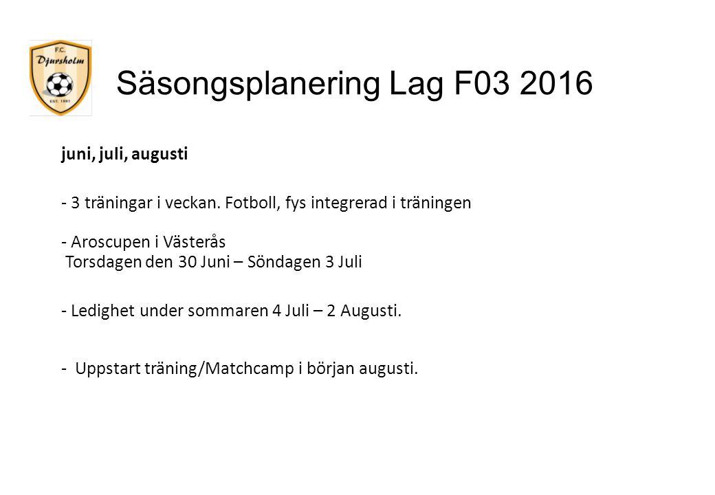 Säsongsplanering Lag F03 2016 juni, juli, augusti - 3 träningar i veckan. Fotboll, fys integrerad i träningen - Aroscupen i Västerås Torsdagen den 30