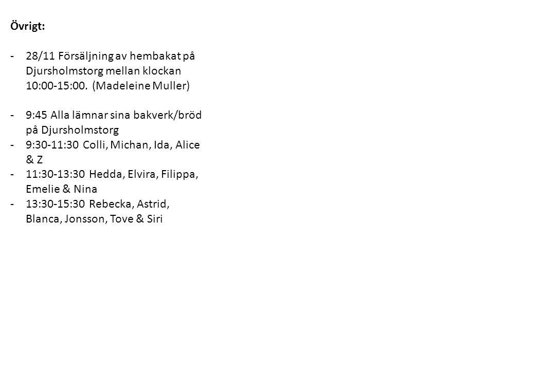 Övrigt: -28/11 Försäljning av hembakat på Djursholmstorg mellan klockan 10:00-15:00. (Madeleine Muller) -9:45 Alla lämnar sina bakverk/bröd på Djursho