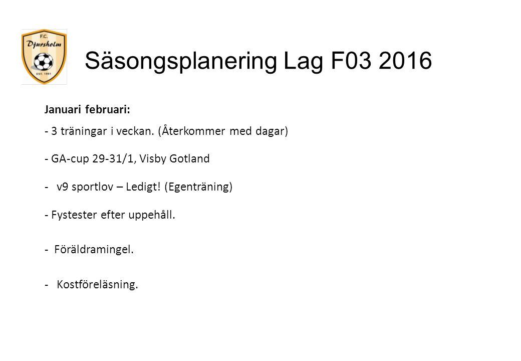 Säsongsplanering Lag F03 2016 Januari februari: - 3 träningar i veckan. (Återkommer med dagar) - GA-cup 29-31/1, Visby Gotland -v9 sportlov – Ledigt!