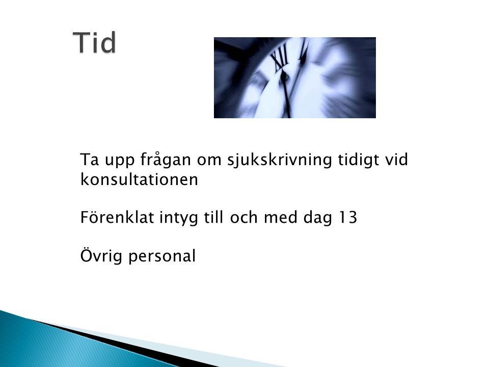Ta upp frågan om sjukskrivning tidigt vid konsultationen Förenklat intyg till och med dag 13 Övrig personal