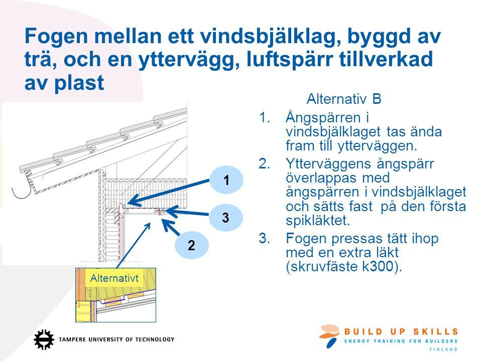 Fogen mellan ett vindsbjälklag, byggd av trä, och en yttervägg, luftspärr tillverkad av plast Alternativ B 1.Ångspärren i vindsbjälklaget tas ända fram till ytterväggen.