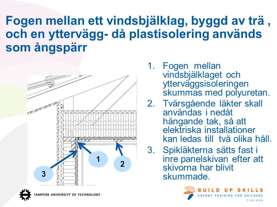 Fogen mellan ett vindsbjälklag, byggd av trä, och en yttervägg- då plastisolering används som ångspärr 1.Fogen mellan vindsbjälklaget och ytterväggsisoleringen skummas med polyuretan.
