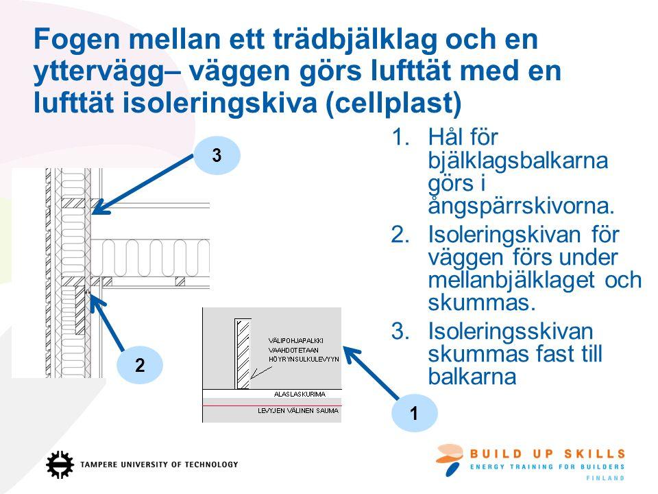 Fogen mellan ett trädbjälklag och en yttervägg– väggen görs lufttät med en lufttät isoleringskiva (cellplast) 1.Hål för bjälklagsbalkarna görs i ångspärrskivorna.