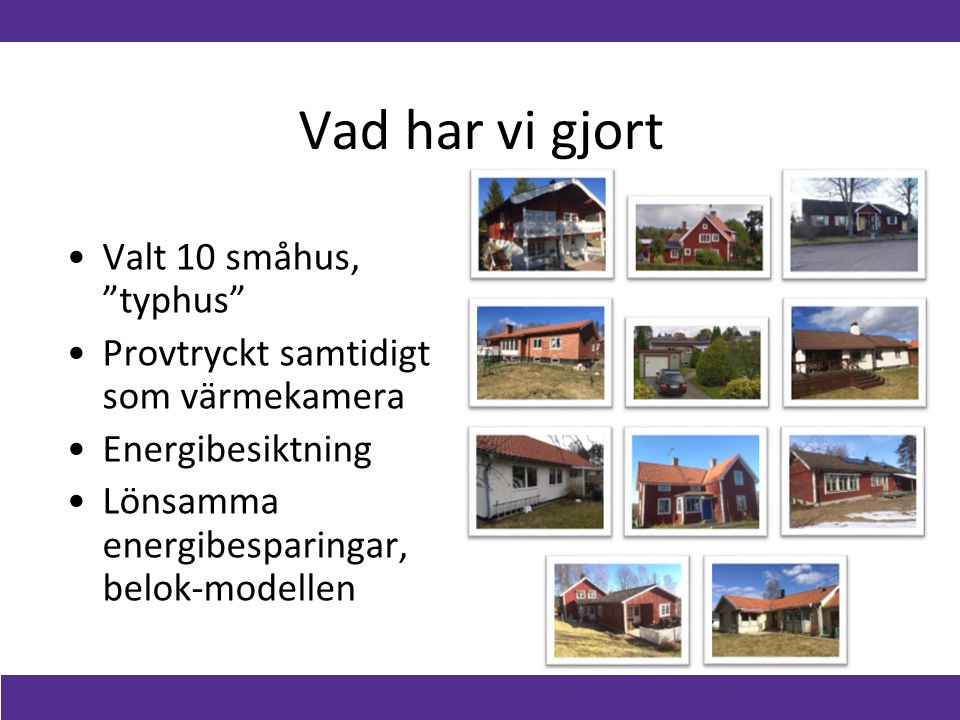 Vad har vi gjort Valt 10 småhus, typhus Provtryckt samtidigt som värmekamera Energibesiktning Lönsamma energibesparingar, belok-modellen