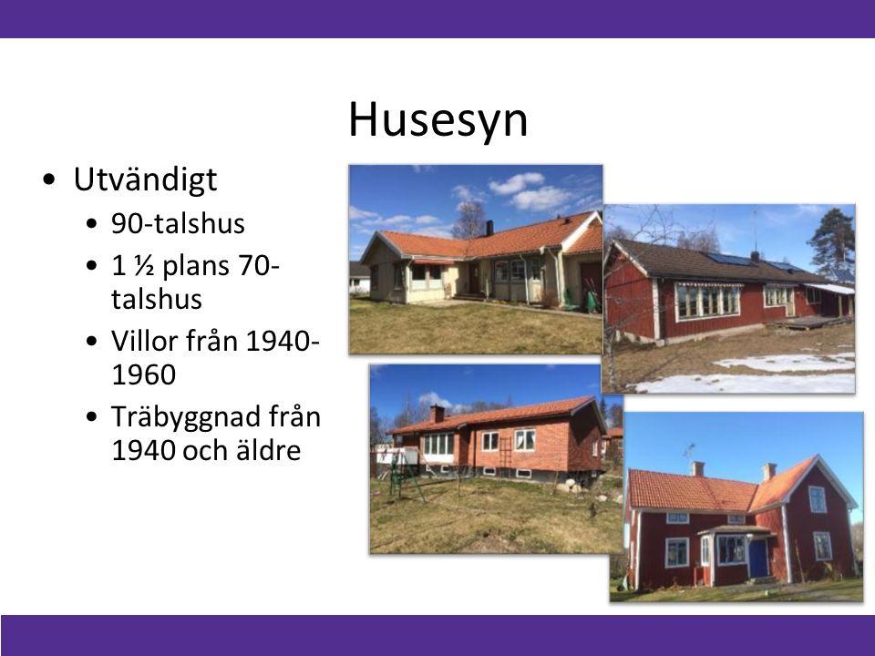 Husesyn Utvändigt 90-talshus 1 ½ plans 70- talshus Villor från 1940- 1960 Träbyggnad från 1940 och äldre