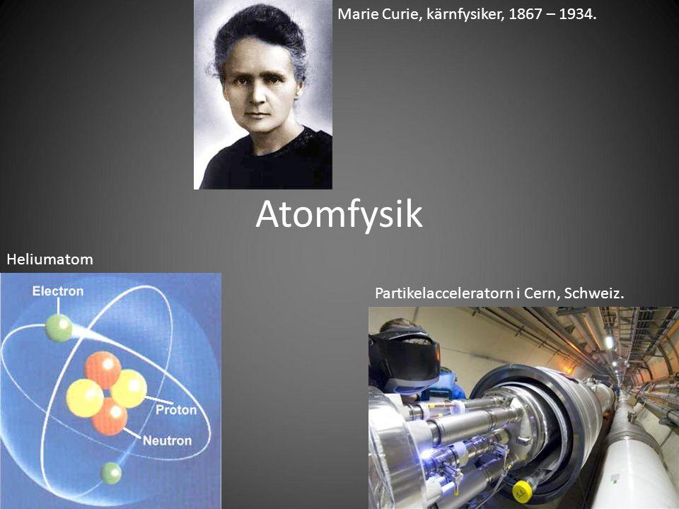 Atomfysik Partikelacceleratorn i Cern, Schweiz. Heliumatom Marie Curie, kärnfysiker, 1867 – 1934.
