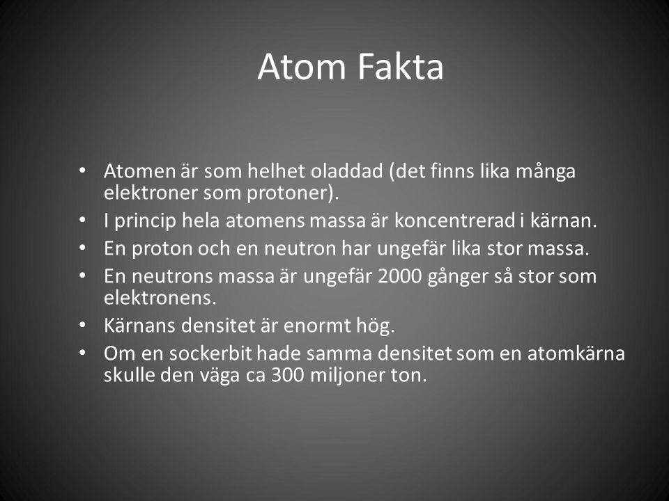 Atom Fakta Atomen är som helhet oladdad (det finns lika många elektroner som protoner).
