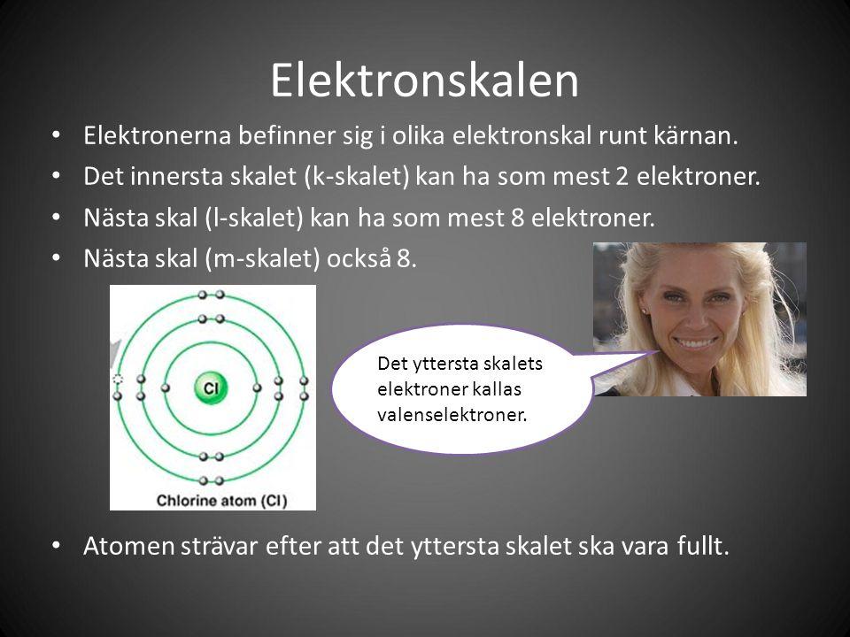 Elektronskalen Elektronerna befinner sig i olika elektronskal runt kärnan.