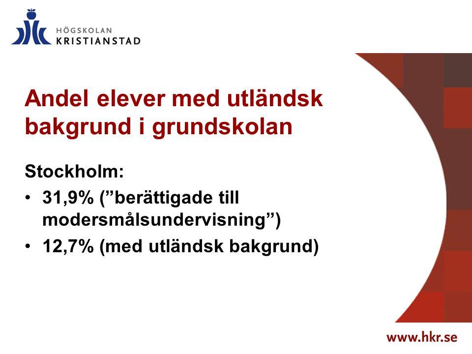 Andel elever med utländsk bakgrund i grundskolan Stockholm: 31,9% ( berättigade till modersmålsundervisning ) 12,7% (med utländsk bakgrund)