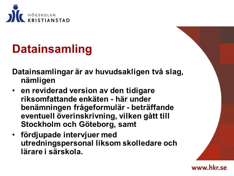 Datainsamling Datainsamlingar är av huvudsakligen två slag, nämligen en reviderad version av den tidigare riksomfattande enkäten - här under benämningen frågeformulär - beträffande eventuell överinskrivning, vilken gått till Stockholm och Göteborg, samt fördjupade intervjuer med utredningspersonal liksom skolledare och lärare i särskola.