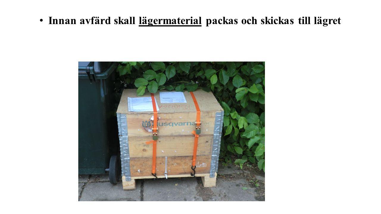 Innan avfärd skall lägermaterial packas och skickas till lägret