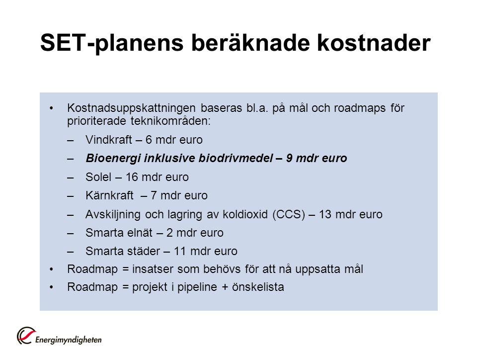 SET-planens beräknade kostnader Kostnadsuppskattningen baseras bl.a.