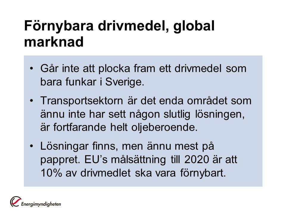 Förnybara drivmedel, global marknad Går inte att plocka fram ett drivmedel som bara funkar i Sverige.