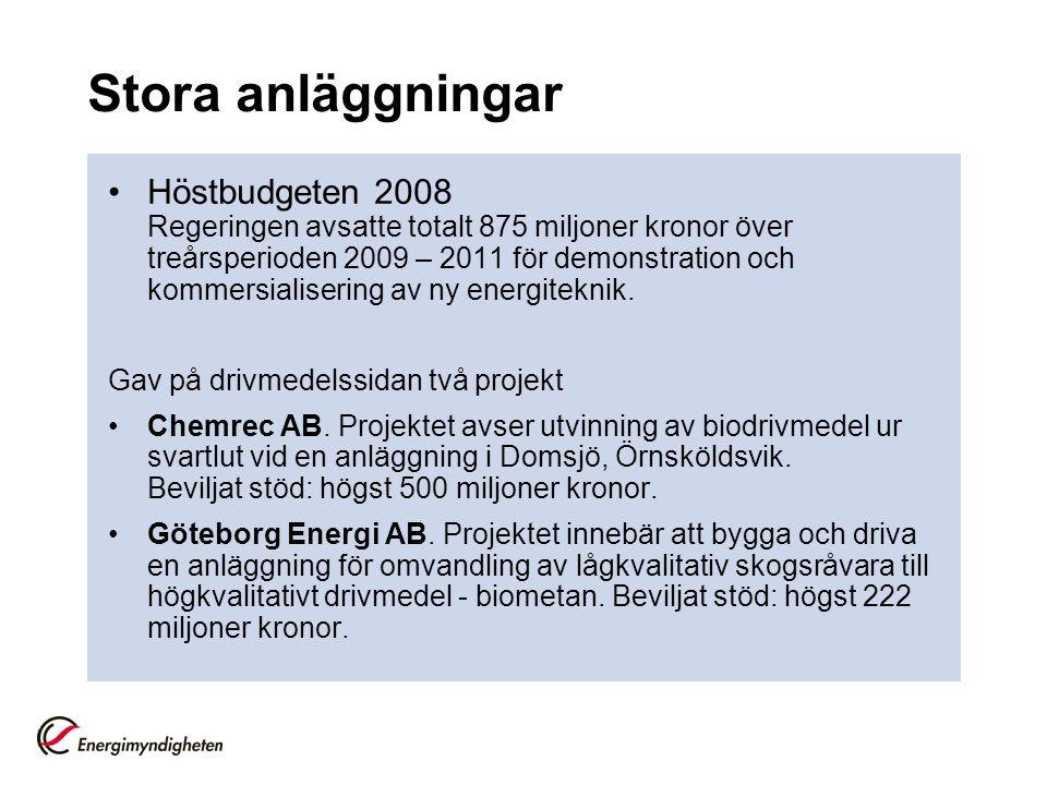 Stora anläggningar Höstbudgeten 2008 Regeringen avsatte totalt 875 miljoner kronor över treårsperioden 2009 – 2011 för demonstration och kommersialisering av ny energiteknik.