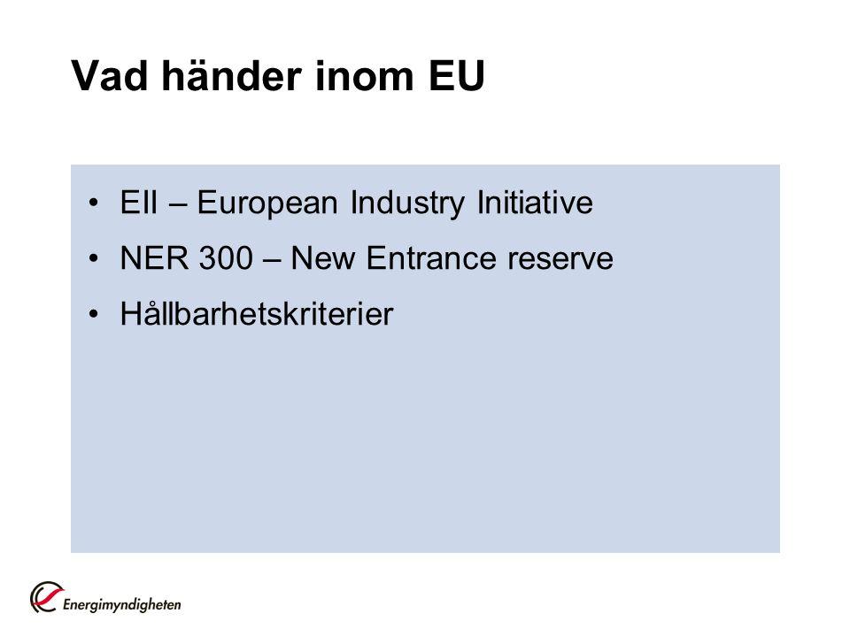 Vad händer inom EU EII – European Industry Initiative NER 300 – New Entrance reserve Hållbarhetskriterier