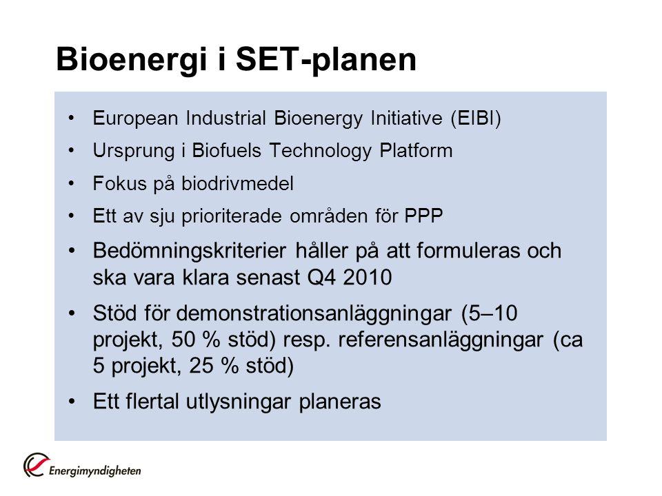 Bioenergi i SET-planen European Industrial Bioenergy Initiative (EIBI) Ursprung i Biofuels Technology Platform Fokus på biodrivmedel Ett av sju prioriterade områden för PPP Bedömningskriterier håller på att formuleras och ska vara klara senast Q4 2010 Stöd för demonstrationsanläggningar (5–10 projekt, 50 % stöd) resp.