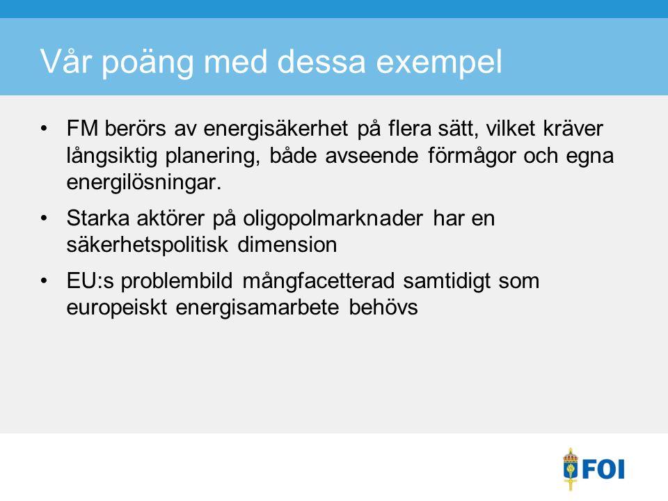 Vår poäng med dessa exempel FM berörs av energisäkerhet på flera sätt, vilket kräver långsiktig planering, både avseende förmågor och egna energilösningar.