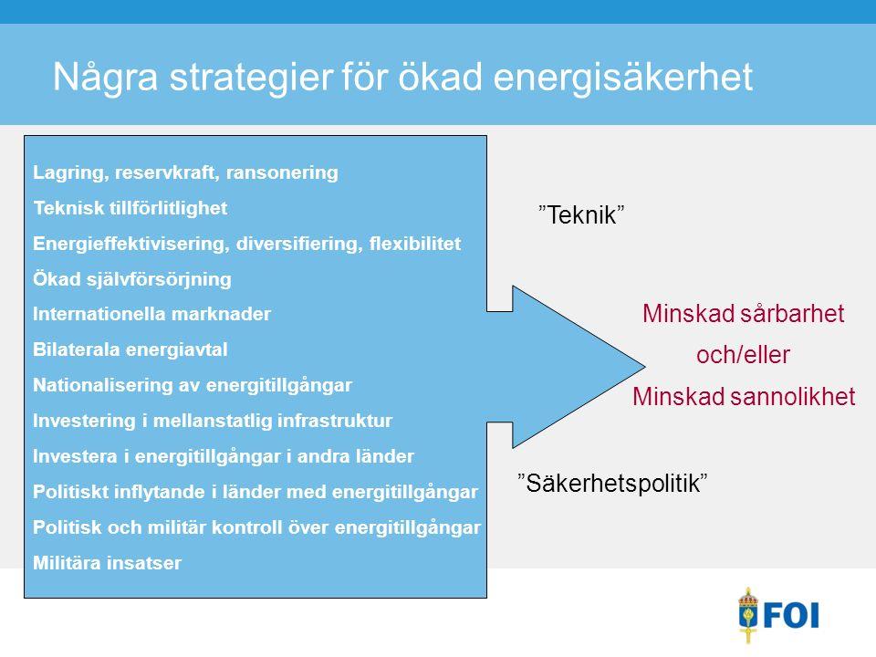 Några strategier för ökad energisäkerhet Minskad sårbarhet och/eller Minskad sannolikhet Lagring, reservkraft, ransonering Teknisk tillförlitlighet Energieffektivisering, diversifiering, flexibilitet Ökad självförsörjning Internationella marknader Bilaterala energiavtal Nationalisering av energitillgångar Investering i mellanstatlig infrastruktur Investera i energitillgångar i andra länder Politiskt inflytande i länder med energitillgångar Politisk och militär kontroll över energitillgångar Militära insatser Teknik Säkerhetspolitik