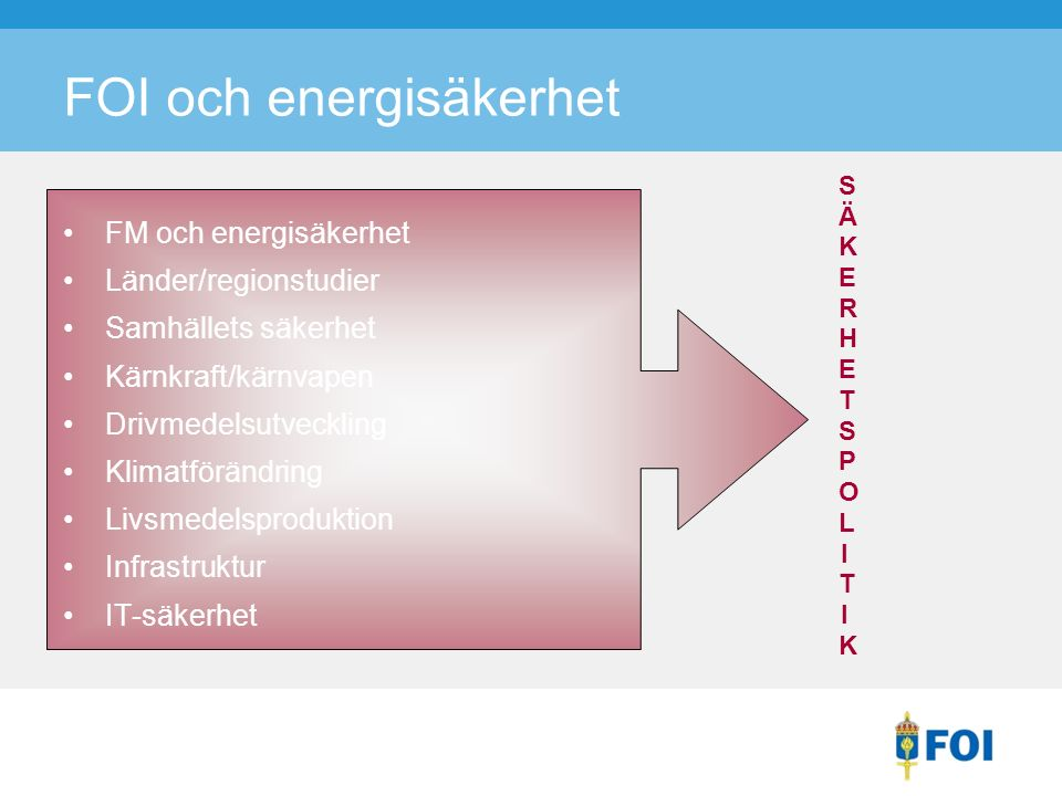 FM och energisäkerhet Länder/regionstudier Samhällets säkerhet Kärnkraft/kärnvapen Drivmedelsutveckling Klimatförändring Livsmedelsproduktion Infrastruktur IT-säkerhet FOI och energisäkerhet SÄKERHETSPOLITIKSÄKERHETSPOLITIK