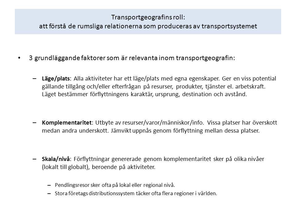 Transportgeografins roll: att förstå de rumsliga relationerna som produceras av transportsystemet 3 grundläggande faktorer som är relevanta inom trans