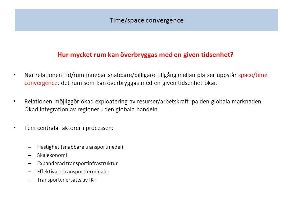 Time/space convergence Hur mycket rum kan överbryggas med en given tidsenhet? När relationen tid/rum innebär snabbare/billigare tillgång mellan platse