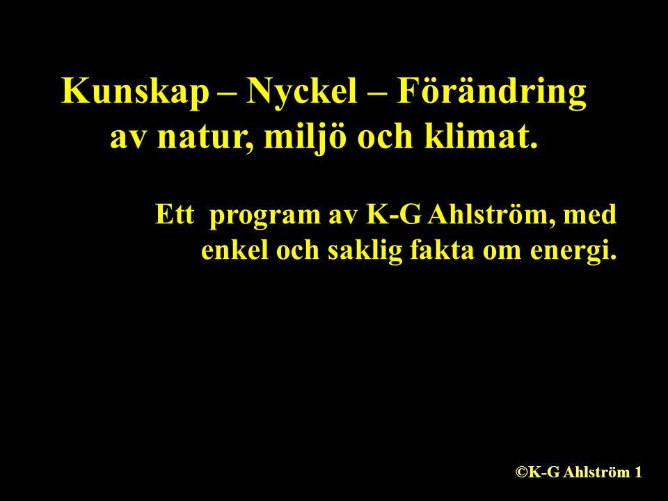 Kunskap – Nyckel – Förändring av natur, miljö och klimat. Ett program av K-G Ahlström, med enkel och saklig fakta om energi. ©K-G Ahlström 1