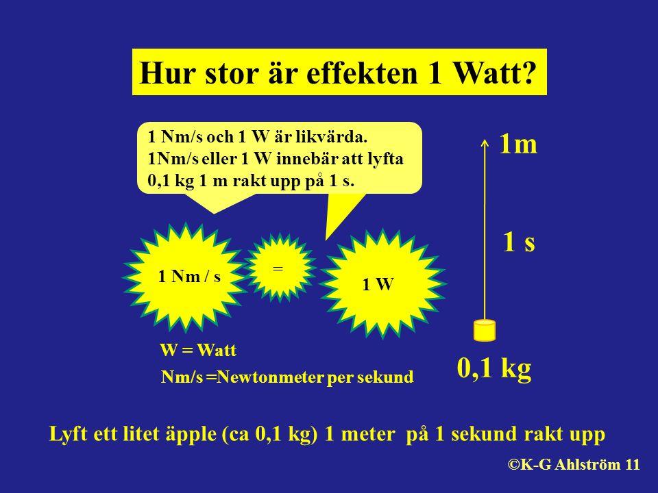 Hur stor är effekten 1 Watt? 1 Nm/s och 1 W är likvärda. 1Nm/s eller 1 W innebär att lyfta 0,1 kg 1 m rakt upp på 1 s. 0,1 kg 1m 1 s Nm/s =Newtonmeter