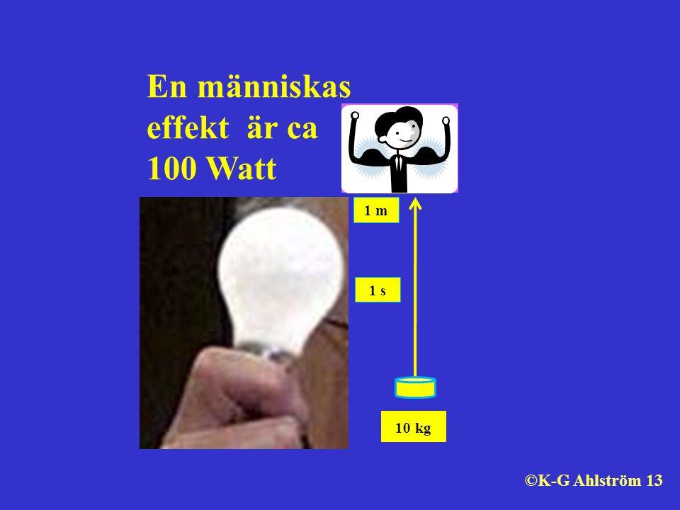 En människas effekt är ca 100 Watt 10 kg 1 m 1 s ©K-G Ahlström 13