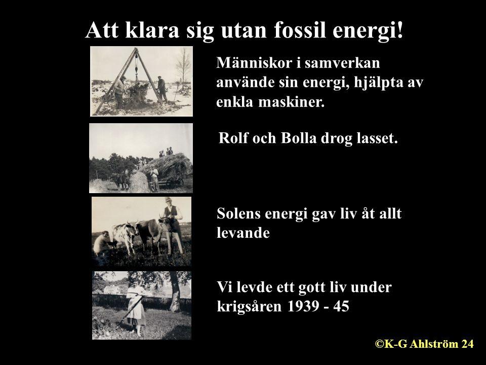 Att klara sig utan fossil energi! 25 Rolf och Bolla drog lasset. Människor i samverkan använde sin energi, hjälpta av enkla maskiner. Solens energi ga