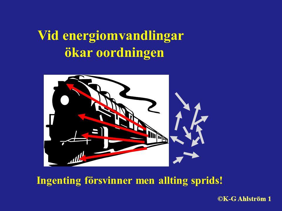 Ingenting försvinner men allting sprids! Vid energiomvandlingar ökar oordningen ©K-G Ahlström 1