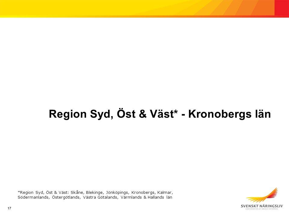 17 Region Syd, Öst & Väst* - Kronobergs län *Region Syd, Öst & Väst: Skåne, Blekinge, Jönköpings, Kronobergs, Kalmar, Södermanlands, Östergötlands, Västra Götalands, Värmlands & Hallands län