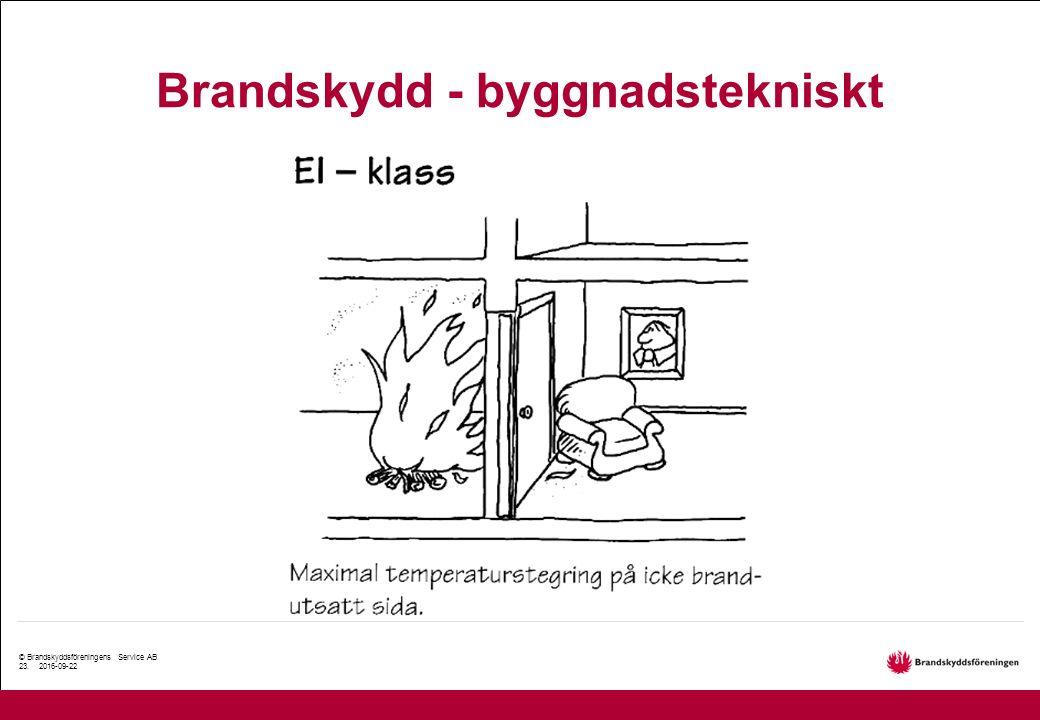 © Brandskyddsföreningens Service AB 23. 2016-09-22 Brandskydd - byggnadstekniskt