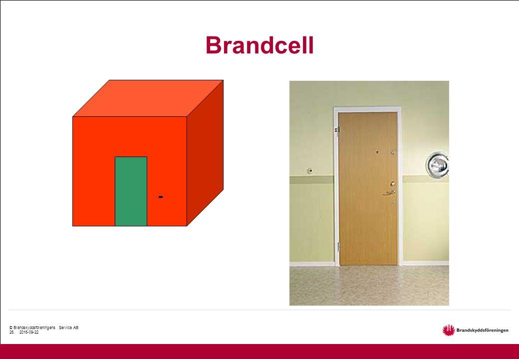 © Brandskyddsföreningens Service AB 26. 2016-09-22 Brandcell