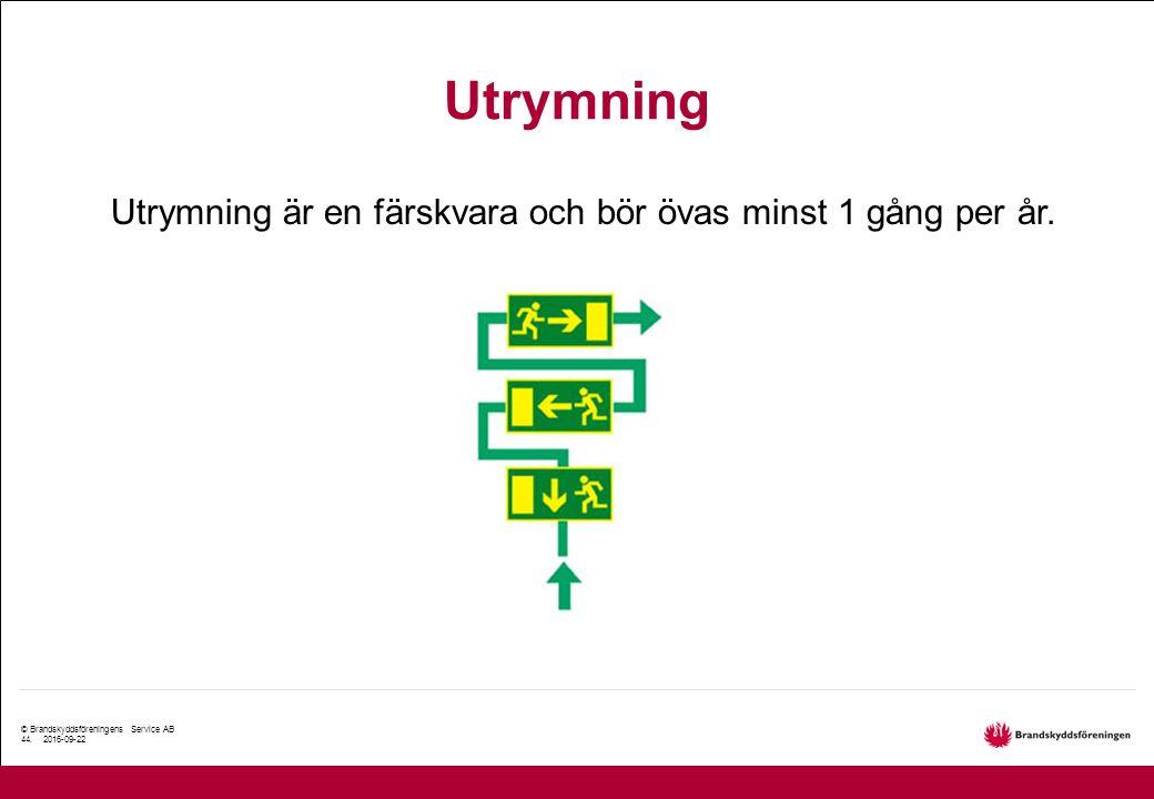 © Brandskyddsföreningens Service AB 44. 2016-09-22 Utrymning Utrymning är en färskvara och bör övas minst 1 gång per år.