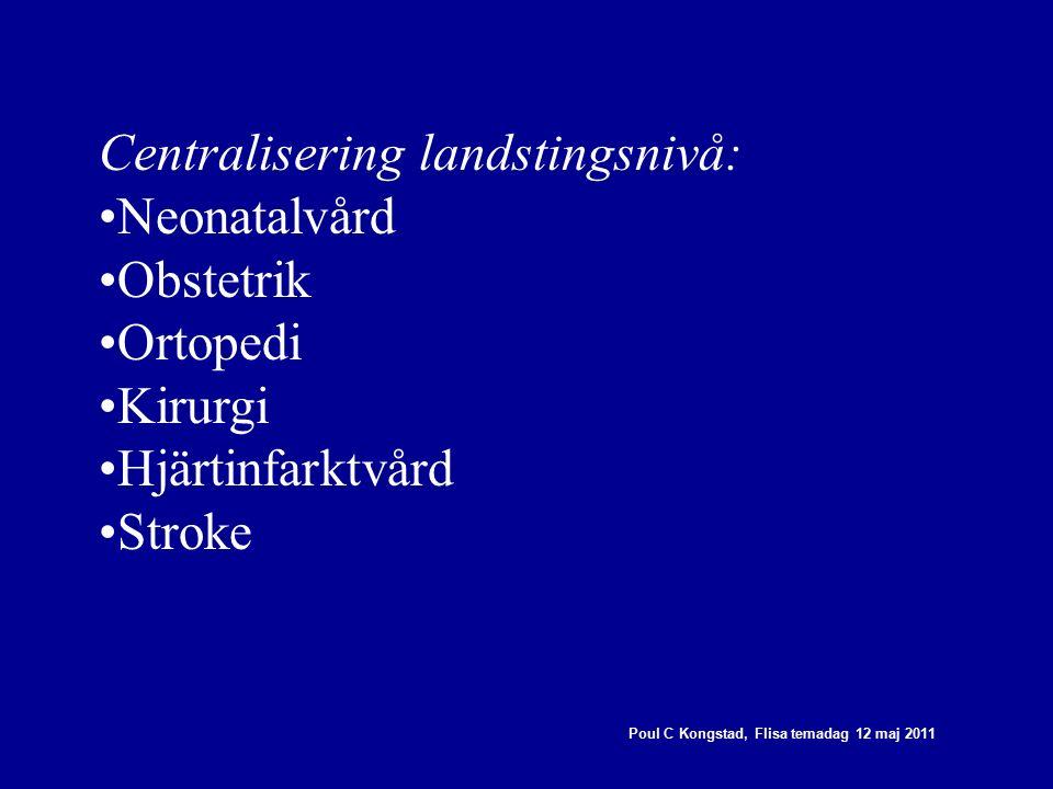 Poul C Kongstad, Flisa temadag 12 maj 2011 Centralisering landstingsnivå: Neonatalvård Obstetrik Ortopedi Kirurgi Hjärtinfarktvård Stroke
