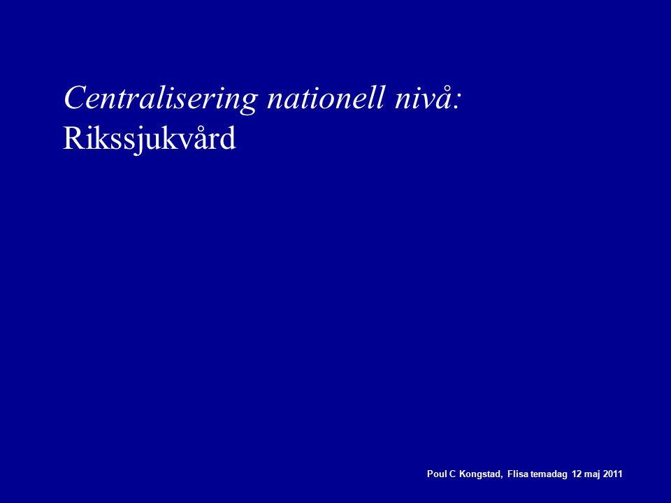 Centralisering nationell nivå: Rikssjukvård Poul C Kongstad, Flisa temadag 12 maj 2011